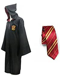 Great Adult Harry Potter Gryffindor Slytherin Ravenclaw Hufflepuff Fancy Robe Cloak Costume And Tie