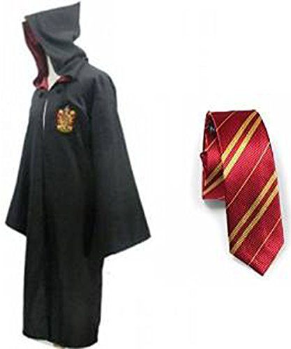 tter Gryffindor Slytherin Ravenclaw Hufflepuff Fancy Robe Cloak Costume And Tie (M, Gryffindor Robe&Tie) (Slytherin Harry Potter Kostüm)