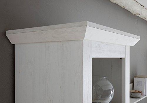 Wohnwand Anbauwand mit Highboard & Vitrine 440972 pinie weiß 4-teilig - 6