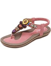 GUOCU Damen Sandalen Zehentrenner Sommer Strand Schuhe Bohemian Strass Flach Sandaletten Rosa 42