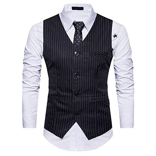 Herren V Ausschnitt Anzugweste Mit Streifen Einreiher 4 Elegant Smoking Chic Weste Business Party Hochzeit (Color : Schwarz, Size : L)