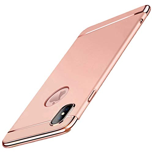 iPhone X Hülle Case, 3-Teilige Extra Dünn Hart Slim Thin Hard Case Cover Stylich Hochwertig Schutzhülle Schale Handy Hülle für Apple iPhone X/10 [3 in 1 Apple Logo sichtbar] (iPhone X, Roségold)