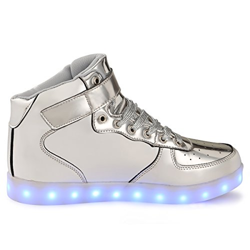 TULUO Kind u. Männer u. Frau USB-aufladende LED 7 Farben-helle hohe SpitzenSneakers Helle Schuhe Silber
