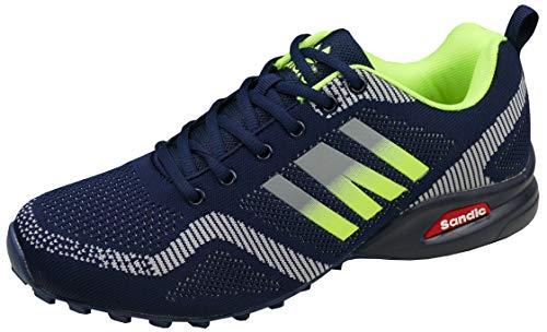 gibra® Herren Sneaker Sportschuhe, leicht und bequem, dunkelblau/neongrün, Art. 7737, Gr. 43