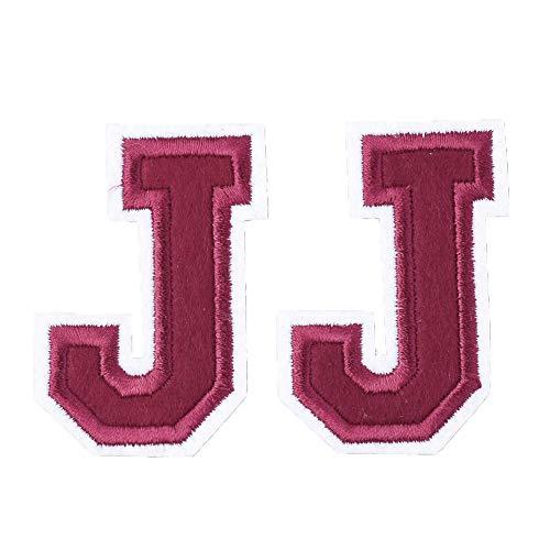 Kostüm Buchstaben Alphabet - PandaHall 100 Stück EDV-Sticktuch Eisen auf Flecken für Jacken Rucksäcke Jeans Kleidung Schuhe Applique DIY Zubehör Kostüm-Zubehör Applikationen Alphabet Buchstabe. J 57x51x1.5 mm