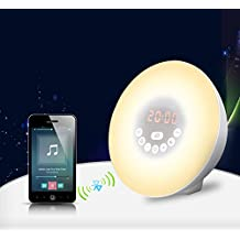 【Nouvelle Version】Wake up light, Kaifire Lampe de Réveil bluetooth avec Fonction Horloge Alarme Snooze et Radio FM et Parleur bluetooth, Éveil Lumière LED Simulateur d'Aube et de Crépuscule Wake-up Light