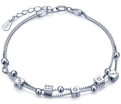 Unendlich U Fashion Spielwürfel Beads Damen Charm-Armband 925 Sterling Silber Doppel Armkette Verstellbar Armkettchen, Silber