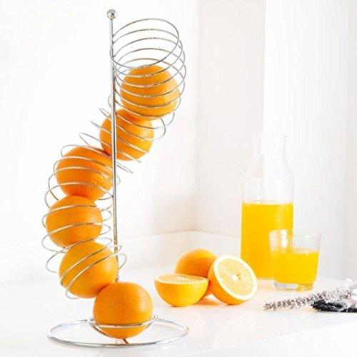 DESIGNER RÖHREN OBSTKORB / OBSTSCHALE METALL VERCHROMT silber in Spiral Form, 47 cm Höhe, ideal für Orangen, Äpfel, etc