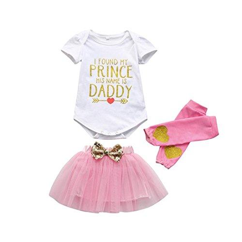 squarex 3Baby Mädchen Geburtstag Party Kleidung Strampler + Tutu Rock + Leggings Set, Kinder, weiß, 6-12 Monate