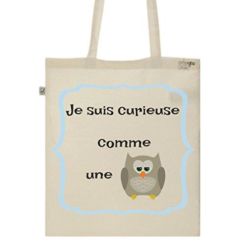 Tote Bag Imprimé Ecru - Toile en coton bio - Curieuse comme une chouette