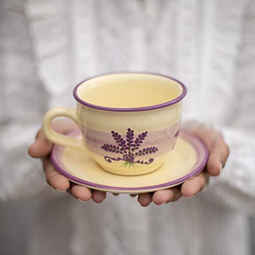 City to Cottage   Tasse et sous tasse à café, à thé   beige à motif lavande en céramique faite et peinte à la main  Grande 350ml