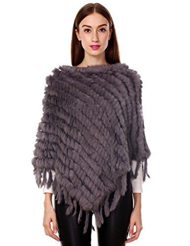 Ferand - poncho caldo elegante mantella inverno in vera pelliccia di coniglio maglia con nappe - donna - taglia unica - grigio scuro
