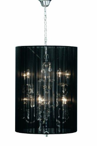 Premier Große Kronleuchter-Hängelampe Calice, silber-metallfarben, mit durchsichtigen Tropfen und Lampenschirm aus schwarzem Stoff