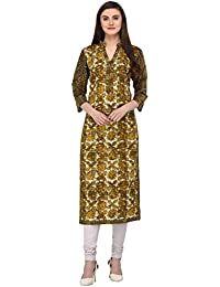 Vgang Women's Olive Green Printed Straight Cotton Kurti (small To 7xl)