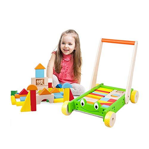 LTSWEET Multifunktion Baby Lauflernhilfen Hölzern Gehfrei Lauflernwagen Kinderspielzeug Geschenk Baby Walker Förderung Motorischer Fähigkeiten,Grüner Frosch