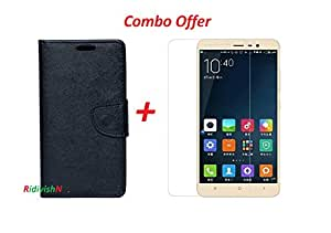 RidivishN (COMBO OFFER) for Samsung Galaxy j7 Prime Fancy Wallet Flip Case cover + Premium Tempered Glass Mobile Screen Protector (Black)