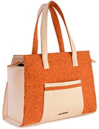 Veuza Berlin Premium Jacquard And Faux Leather Tango Orange Handbag