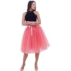 SCFL Falda de tut¨² de mujer Midi Tulle faldas 7 capas de falda enagua con cintur¨®n el¨¢stico para el banquete de boda