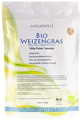Amlawell Bio-Weizengras-Pulver 500g / Testsieger 2019 / aus deutschem Anbau/Rohkostqualität/DE-ÖKO-039