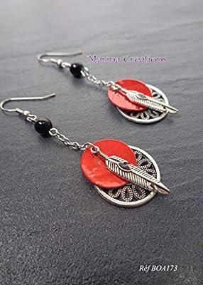 Boucles d'oreilles Plumes crochets acier inoxydable, onyx et nacre rouge