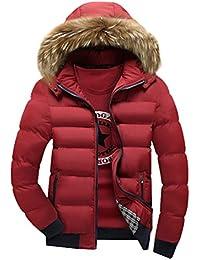 YuanDian Hombre Inverno Casual Chaqueta Acolchada Con Capucha De Pelo Sintética Espesar Cálido Impermeable A Prueba De Viento Guateada Plumifero Abrigo Cazadora (Sin Camiseta)