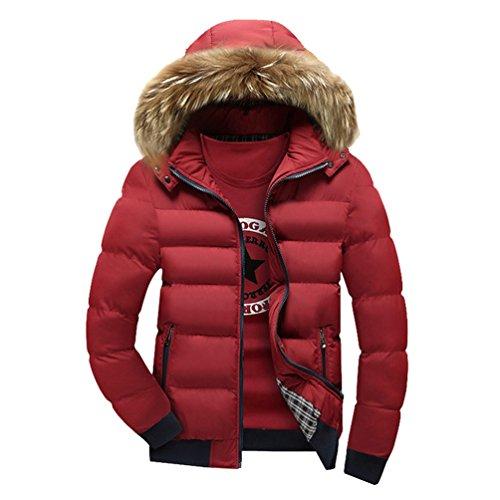 YuanDian Hombre Inverno Casual Chaqueta Acolchada Con Capucha De Pelo Sintética Espesar Cálido Impermeable A Prueba De Viento Guateada Plumifero Abrigo Cazadora (Sin Camiseta) Rojo M