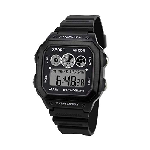 EUCoo_Watch Eucoo Herrenuhr Elektronische Uhr Analog Digital Military Led Wasserdichte Sportuhr(Schwarz)