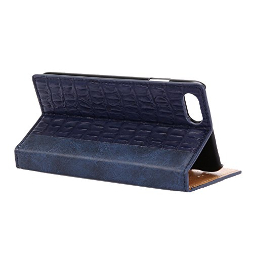 KM-WEN® Schutzhülle für Apple iPhone 7 Plus (5,5 Zoll) Bookstyle Holz Muster PU Leder Wallet Case Flip Cover Hülle Tasche Schutzhülle mit Standfunktion Kartenfächer für Apple iPhone 7 Plus (5,5 Zoll) Krokodil Muster Dunkelblau