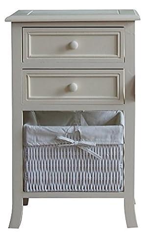 Aspect 37 x 30 x 59 cm 3-Tier Canterbury Storage Cabinet/Bedside Table Unit, Cream