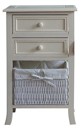 Armadietto/comodino in legno, con 3 cassetti, bianco