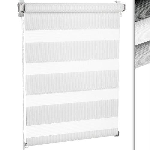 Miadomodo tenda a rullo doppia avvolgibile per finestra montaggio senza fori colore bianco 120 x 230 cm