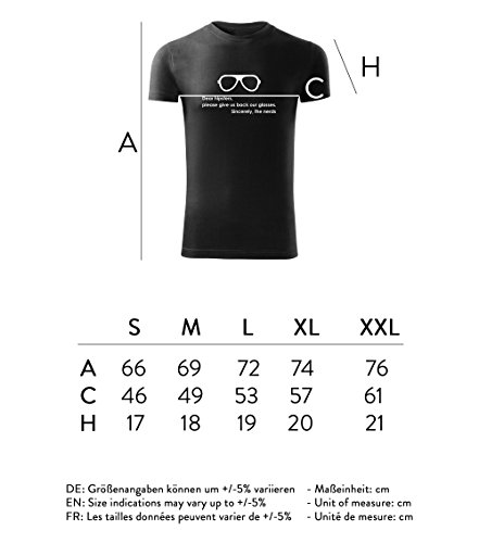 Herren Shirt Dear Hipster please give us back our glasses schwarz & weiß Motiv - T-Shirt Poloshirt mit Motiv - Neu S - XXL Schwarz