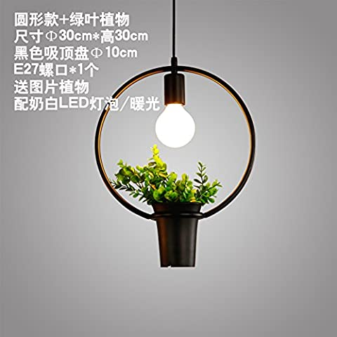 UDEGYU Mansión Americana minimalista restaurante Cafe Estudio candelabros de hierro , planta redonda) +