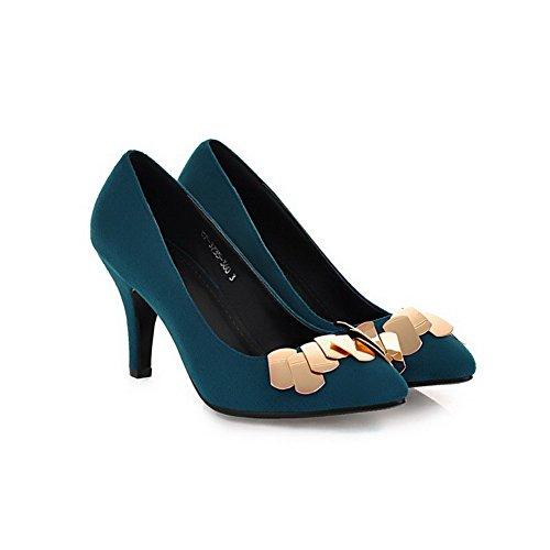 VogueZone009 Femme Pointu à Talon Haut Dépolissement Couleur Unie Tire Chaussures Légeres Bleu