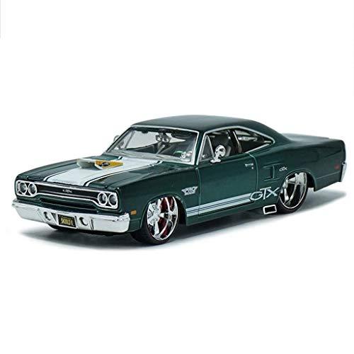 Automodell, Plymouth GTX-Legierung im Verhältnis 1:24 (Color : Dark green, Size : 20 * 10 * 8CM) - Plymouth Modelle Auto