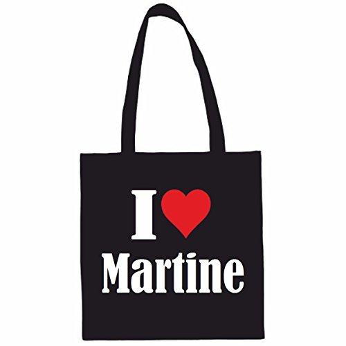 Sac à Bandoulière I Love Martine Shopping Bag Sac d'école Sac de Sport 38x 42cm en Noir ou Blanc.. Le cadeau parfait pour votre amoureux
