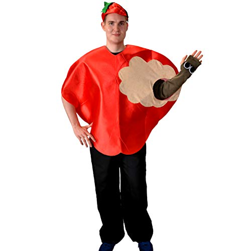 Kostüm Max Für Erwachsene - Apfel Kostüm Max mit Wurm Einheitsgröße rot Früchte Garten Obst Fasching Karneval