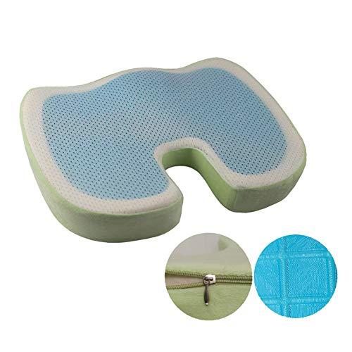 Byjia Orthopädisches Sitzkissen, Memory Foam Gel Sitzkissen für Rückenschmerzen, Ischias und Steißbeinentlastung,Green,46 * 36 * 6.5CM -