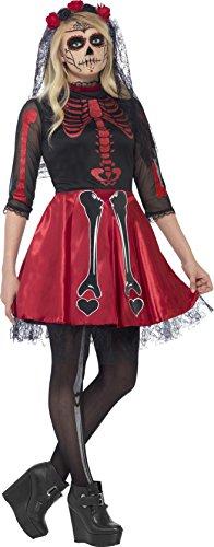 Smiffys, Teenager Mädchen Tag der Toten Kostüm, Kleid und Kopfbedeckung, Größe: XS, 44342