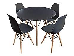 Esstisch Esszimmerst/ühle Esstischgruppe Essgruppe Esstisch-Set Stuhlset Kunstleder Glas Stahlrahmen Schwarz Sitzgruppe mit 6 st/ühle Festnight