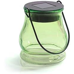 Solarlicht aus Glas als Hängeleuchte oder Tischlicht mit integriertem Solarpanel und LEDs zur Beleuchtung in Grün für Garten, Weihnachten, innen und aussen mit Deko befüllbar