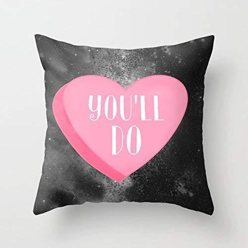 tyui7 Sie Werden Konversation Herz Baumwolle Leinwand Throw Pillow Case Cover 18 x 18 Zoll Quadrat Frohes Neues Jahr Kissenbezug für Sofa drucken Zwei Seiten (Konversation Sofa)