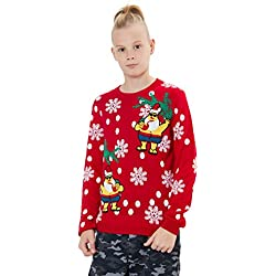Loveternal Ugly Christmas Jumper Unisex Jerseys Navideños Niño Punto Familia Xmas Sweater Edad 7-8 Años