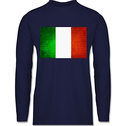 Shirtracer Länder - Flagge Italien - Herren Langarmshirt Navy Blau