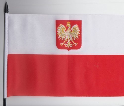 Pologne State Aigle Drapeau à main Taille M 23 cm x 15 cm