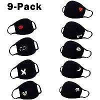 9 Piezas niños Bufanda Cuello redondo Pañuelos para el cuello, Reutilizables Algodon para Tela Suave Lavable pañuelos,Entrega rápida en 7 días (Negro)