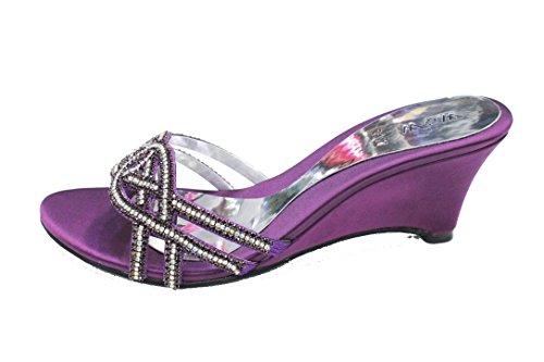 W & W femmes Mesdames Soirée Bloc Talon Sandales Parti Prom de mariage mariée chaussures taille, or, rouge, royal, bleu, violet (san1011) Violet