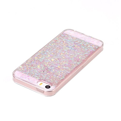 Glitter Powder Soft TPU Schutzhülle für iPhone 5 & 5s & SE by diebelleu ( Color : Blue ) Pink