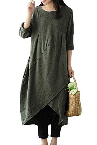 MAGIMODAC Leinenkleid Damen Sommer Lang Tunika Kleid Vintage Baggy Party Kleider Maxikleid Strandkleid Große Größe Gr.38-48 (Grün, Etikett 5XL/DE 48)