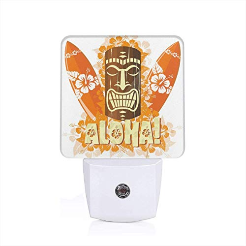 Hibiscus Flora Burst Orange Surfboards Aloha Tropical Summer Theme Plug-in LED Night Light Lamp with Dusk to Dawn Sensor, Night Home Decor Bed Lamp Hibiscus Night Light